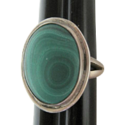 Malachite Stone Set in Silver Ring - Size 8