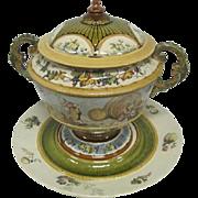 "Mettlach - Villeroy & Boch - Large Punch Bowl & Platter - 14 1/4"" Tall"
