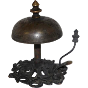 """Mid-Late 1800's Art Noveau Style Brass Hotel Desk Bell - 4"""" Tall"""