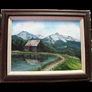 Mountain Landscape Oil on Board Signed Carolyn Gunn