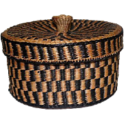 """Native American Basket with Lid - 4"""" tall"""