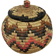 Native American Coiled Basket/Jar with Lid