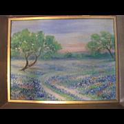 Oil on Board - Landscape w/Bluebell Flowers - Signed RelTub