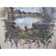 Oil on Cloth - Indian w/Landscape - Signed