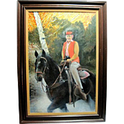 Oil Painting Woman on Horse Professionally Framed and Matted