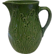 """Old - Green Floral Pottery Pitcher w/Handle - Floral Design - 8"""" Tall"""