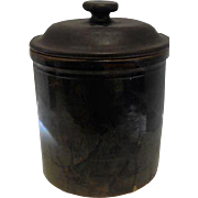Old - Los Angeles Stoneware Co. - Brown Glazed Crock w/Lid