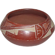 "Old - Pueblo Indian Pot Featuring Steps/Diamonds - Red Ware -7 1/4"" Diameter"