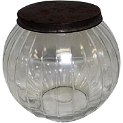 """Old - Round Glass Ball Canister w/lid - Features Veritcal Lines - 7 1/2"""" Tall"""