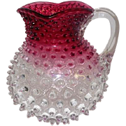 "Old Cranberry & Clear Hobnail Pitcher w/Handle - 7 1/2"" Tall"