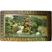 Old Farm Print of Cows and Little Girl with Ornate Gold Gilt Wooden Frame