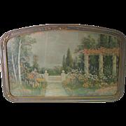 Old Garden & Landscape Print - w/Ornate Old Frame