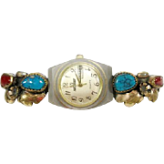 Old Gold on Silver Leaf Turquoise Coral Watch