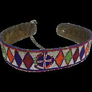 """Old Native American Beaded Belt w/ Buffalo Hide - 32"""" Long"""
