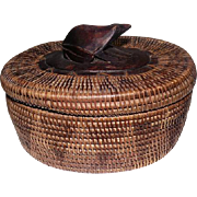 "Old Native Basket w/Lid - Feat. Wooden Frog Top - 5"" Tall"