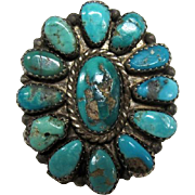 Old Pawn Zuni Traditional Ceremonial Turquoise Flower Design Ring - Size 10.25
