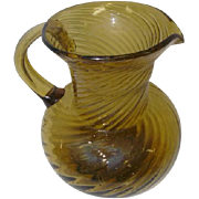 Old Yellow Amber Hand Blown Glass Handled Pitcher - Swirl Design