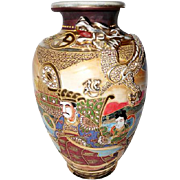 """OLD! Japanese Hand Painted Emperor w/Raised Dragon Vase - 12"""" Tall"""