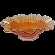 """Orange Opalescent Carnival Glass Ruffled Trim Dish - 9 1/2"""" Diameter"""