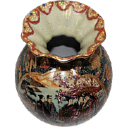 "Ornate Han Dpainied Royal Satsuma Ruffle Top Figural Vase - 7"" Tall"