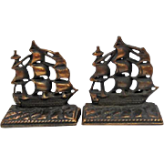 """Pair of 1920 Cast Iron/Copper Finish - """"Old Ironsides"""" Bookends"""
