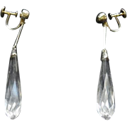 "Pair of Antique 18KT Gold - Rock Crystal Screw Back Earrings - 3 1/4"" Long"