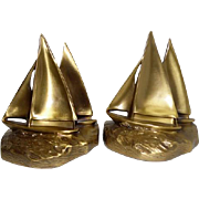 "Pair of Brass - PMC 64 B - Ship Bookends - 5 3/8"" Tall"
