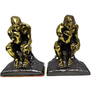 "Pair of Brass Cast Iron Bookends ""The Thinker"" - 5 5/8"" Tall"