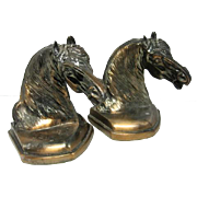 """Pair of Horse Head Bronze Brass Finish Bookends - 6"""" Tall"""