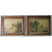 Pair of Late 1800's - Colored Rolled Prints in Ornate Frames