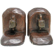 """Pair of Mid Century Wooden Bookends - 5 7/8"""" Tall"""