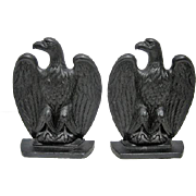 "Pair of Robert Emig Circa 1940's - Cast Iron Black Eagle Bookends - 6 1/2"" Tall"