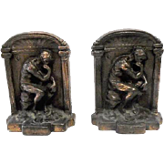 """Pair of Solid Bronze """"The Thinker"""" Bookends - 5"""" Tall"""