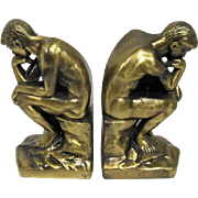 """Pair of Vintage 1928 Brass """"The Thinker"""" Bookends - 7"""" Tall"""