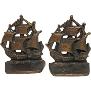 """Pair of Vintage Cast Bronze Sailing Ship/Pirate Copper Finish Bookends - 4 5/16"""" Tall"""