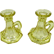 Pair of Yellow (Uranium) Pressed Glass Candle Holders w/ Handles