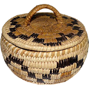 """Papago Basket with Lid - Bundled Coil - 4"""" Tall"""