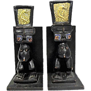 Rare - Pair of Congo Carved Wooden Figures - Beaded Cheeks/Peacock Headdress