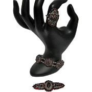 Rare 3PC Matching Bohemian German Garnet/Marcasite Stone Jewelry - Ring/Broach/Bracelet