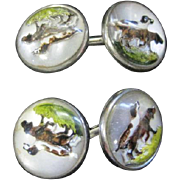 Rare! Pair of Bird Dog Enameled Cuff Links - Great Color