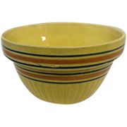 "Red Wing Yellow Stoneware Bowl w/Pink & Blue Stripes - 9 1/2"" Diameter"