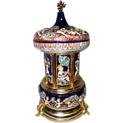 Reuge - Capodimonte Carousel Swiss Musical Movement Cigar/Cigarette Dispenser - 2 Tunes