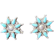 Sterling Flower Blossom with Turquoise Stones Screw Back Earrings