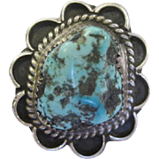 Sterling Large Turquoise Stone Ring - Size 7