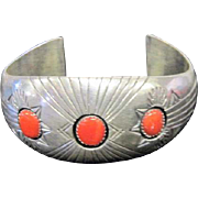 """Sterling P. Benally Coral Stoned Cuff Bracelet - 2 1/2"""" Wide at Wrist"""