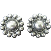 Sterling Silver Screw Back Earrings - Sun Design