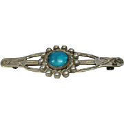 Sterling Turquoise Hallmarked Pin/Brooch Featuring Arrows & Lightning