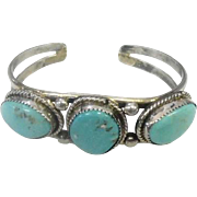 Triple Turquoise Stone Cuff Bracelet on Silver - 31.9 Grams