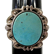 Turquoise Stone Set in Silver Ring - Size 7