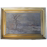 Very Old - Winter Landscape Woman Crossing Ice on River - Oil on Canvas